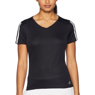 Adidas - Adidas Black/White 3-Stripes Run Tee