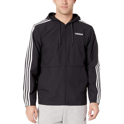 Adidas - Adidas Black/White Essentials 3-Stripe Woven Hoodie