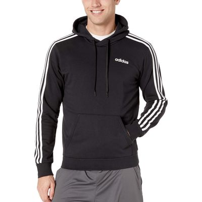 Adidas - Adidas Black/White Essentials 3-Stripes Pullover French Terry