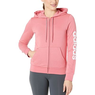 Adidas - Adidas Bliss Pink/White Essentials Linear Full Zip Hoodie