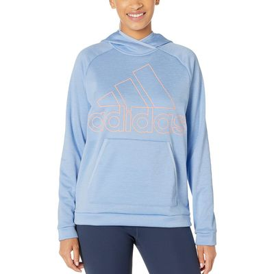 Adidas - Adidas Glow Blue/Heather/Glow Pink Team Issue Badge Of Sport Hoodie