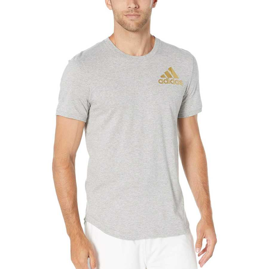 Adidas Medium Grey Heather Sport Id Metallic Tee