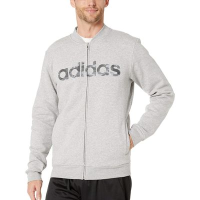 Adidas - Adidas Medium Grey Heather/Medium Grey Heather Solid Grey/Black Essentials Camo Linear Jacket