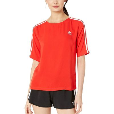 Adidas - Adidas Originals Red 3-Stripes Back-Zip Tee