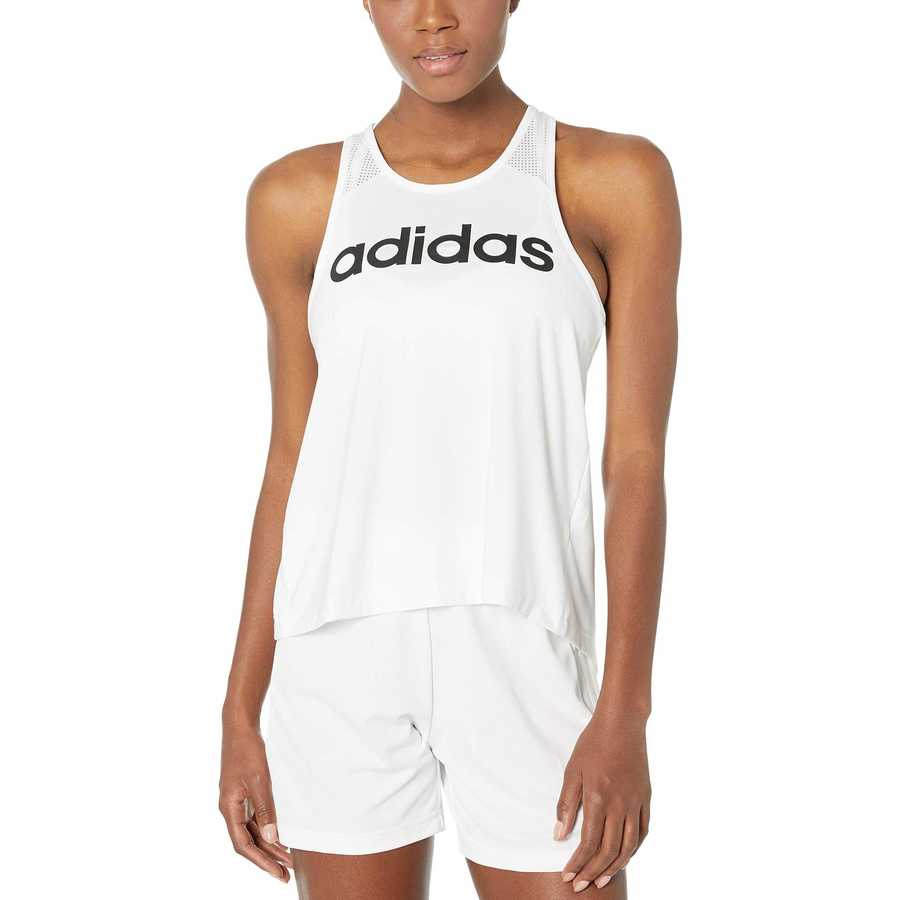 Adidas White 2 Designed-2-Move Logo Tank Top