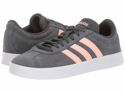 Adidas - Adidas Women Grey Six/Glow Pink/White Vl Court Shoes Lifestyle Sneakers