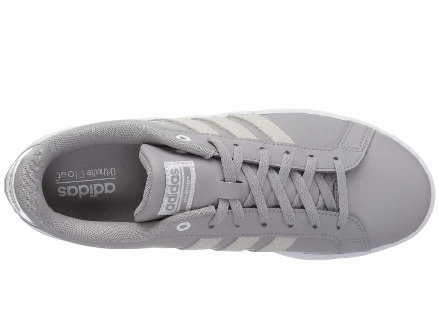 adidas Women's Light Granite White Leather Embossed Stripe Cloudfoam Advantage Lifestyle Sneakers