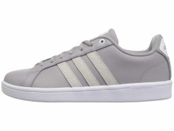 adidas Women's Light Granite White Leather Embossed Stripe Cloudfoam Advantage Lifestyle Sneakers - Thumbnail