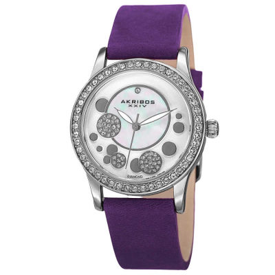 Akribos XXIV - Akribos Women's Diamond Leather Strap Watch AK843PU