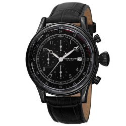Akribos XXIV Bold Men's Japanese Quartz Chronograph Leather Strap Watch AK798BK - Thumbnail
