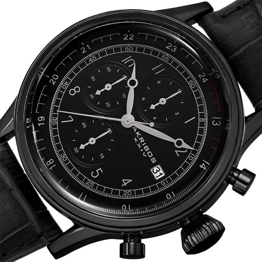 Akribos XXIV Bold Men's Japanese Quartz Chronograph Leather Strap Watch AK798BK