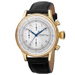 Akribos XXIV Bold Men's Japanese Quartz Chronograph Leather Strap Watch AK798YG - Thumbnail