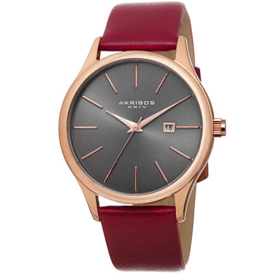 Akribos XXIV - Akribos XXIV Classic Men's Sunray Dial Genuine Leather Strap Watch AK618RGR