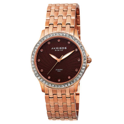 Akribos XXIV - Akribos XXIV Ladies Genuine Diamond Stainless Steel Bracelet Watch AK620RG