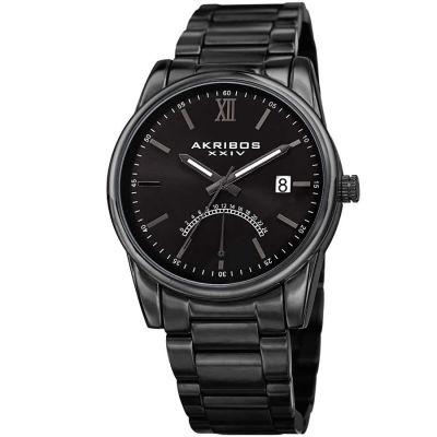 Akribos XXIV - Akribos XXIV Men's 24 Hour Retrograde Indicator Date Display Stainless Steel Bracelet Watch AK962BK