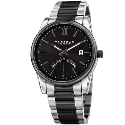 Akribos XXIV - Akribos XXIV Men's 24 Hour Retrograde Indicator Date Display Stainless Steel Bracelet Watch AK962TTB