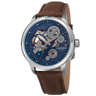Akribos XXIV - Akribos XXIV Men's AK855 Round Blue Dial Three Hand Automatic Strap Watch AK855SSBR