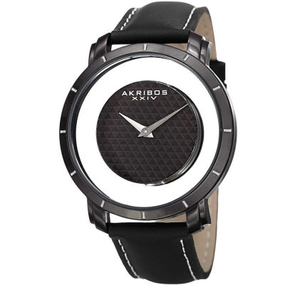 Akribos XXIV - Akribos XXIV Men's AK856BK Round Black and See Thru Dial Quartz Strap Watch AK856BK