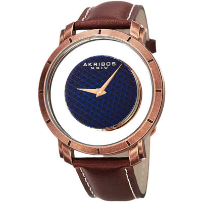 Akribos XXIV - Akribos XXIV Men's AK856RGBR Round Rose Gold and See Thru Dial Quartz Strap Watch AK856RGBR