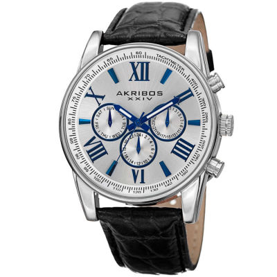 Akribos XXIV - Akribos XXIV Men's AK864SS Multifunction Silver Tone and Black Leather Strap Watch
