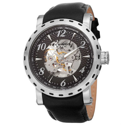 Akribos XXIV - Akribos XXIV Men's Automatic Movement Tachymeter Skeleton Dial Leather Strap Watch AK698SSB
