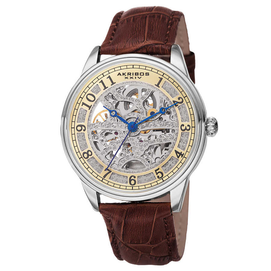 Akribos XXIV Men's Automatic Skeletal Dial Arabic Numeral Markers Leather Strap Watch AK807BR