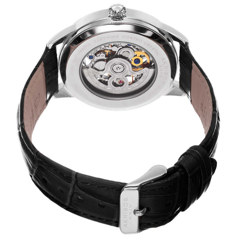 Akribos XXIV Men's Automatic Skeletal Dial Arabic Numeral Markers Leather Strap Watch AK807SS