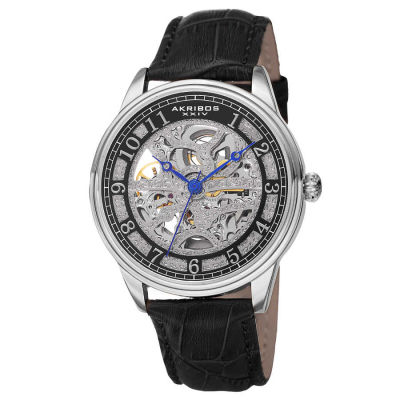 Akribos XXIV - Akribos XXIV Men's Automatic Skeleton Dial Leather Strap Watch AK807SSB