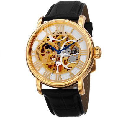 Akribos XXIV - Akribos XXIV Men's Automatic Skeleton Round Leather Strap Watch AK540YG