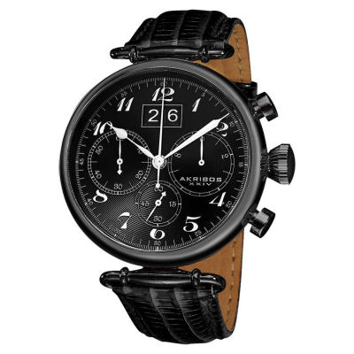 Akribos XXIV - Akribos XXIV Men's Chronograph Black Leather Strap Watch AK628BLK