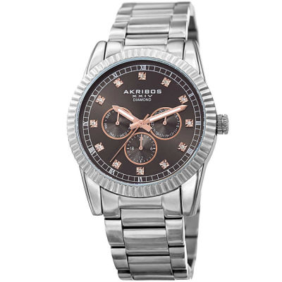 Akribos XXIV - Akribos XXIV Men's Genuine Diamond Multifunction Stainless Steel Bracelet Watch AK958SSGY