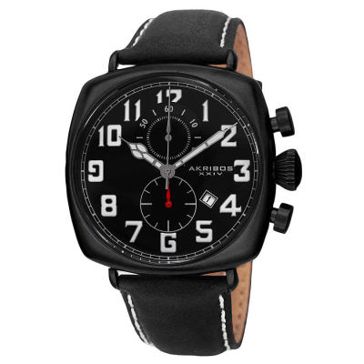 Akribos XXIV - Akribos XXIV Men's Japanese Quartz Chronograph Date Display Leather Strap Watch AK786BK
