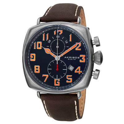 Akribos XXIV - Akribos XXIV Men's Japanese Quartz Chronograph Date Display Leather Strap Watch AK786BU
