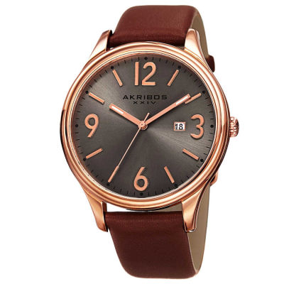 Akribos XXIV - Akribos XXIV Men's Japanese Quartz Date Aperture Leather Strap Watch AK869RG