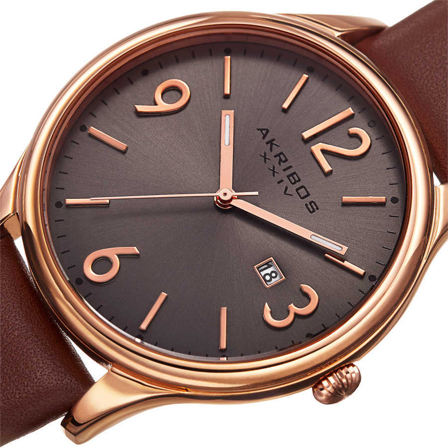 Akribos XXIV Men's Japanese Quartz Date Aperture Leather Strap Watch AK869RG