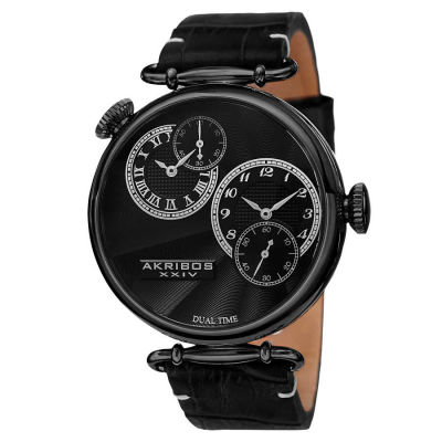Akribos XXIV - Akribos XXIV Men's Japanese Quartz Dual Time Genuine Leather Strap Watch AK796BK