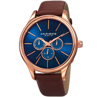 Akribos XXIV - Akribos XXIV Men's Japanese Quartz Multifunction Leather Strap Watch AK870RGBU