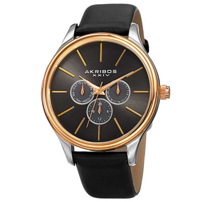 Akribos XXIV - Akribos XXIV Men's Japanese Quartz Multifunction Leather Strap Watch AK870YGB