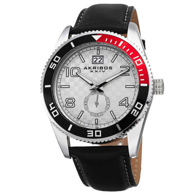 Akribos XXIV - Akribos XXIV Men's Japanese Quartz Rotating Bezel Leather Strap Watch AK859SS