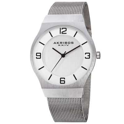 Akribos XXIV - Akribos XXIV Men's Japanese Quartz Stainless Steel Mesh Bracelet Watch AK851SS