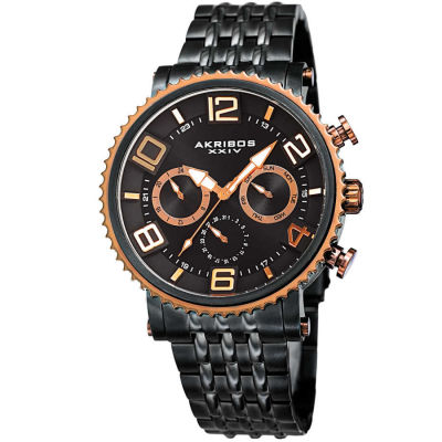 Akribos XXIV - Akribos XXIV Men's Multifunction Coin Edge Bezel Bracelet Watch AK917BKRG