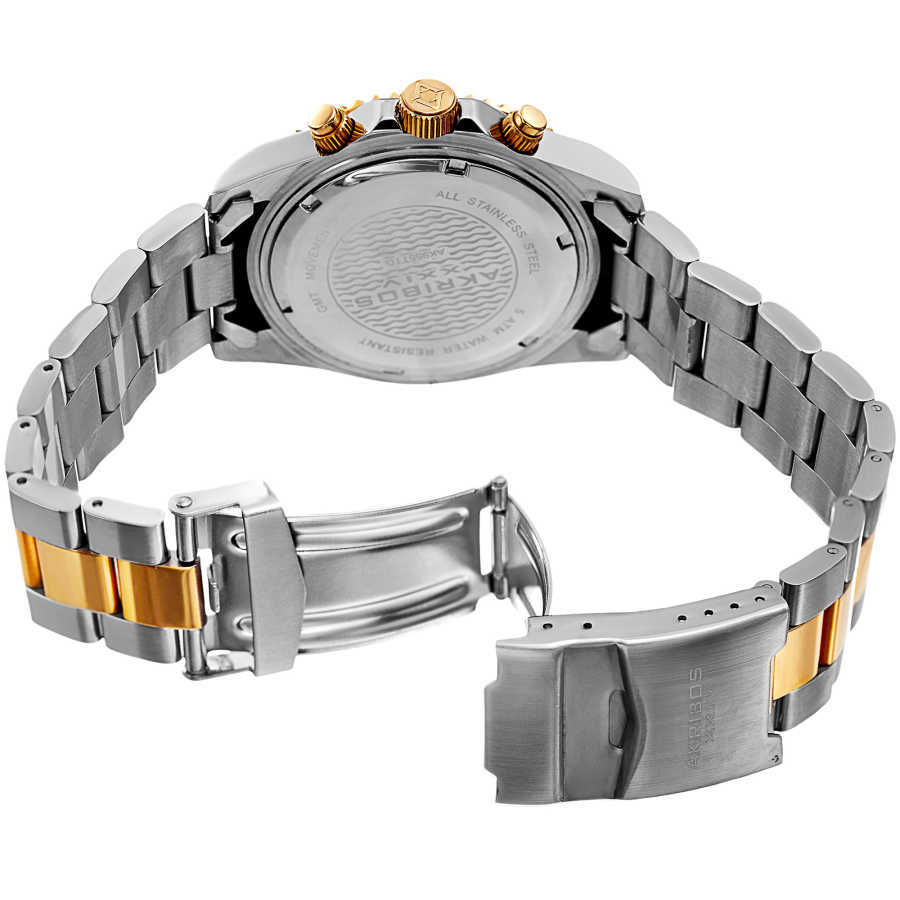 Akribos XXIV Men's Multifunction Stainless Steel Bracelet Watch AK955TTG