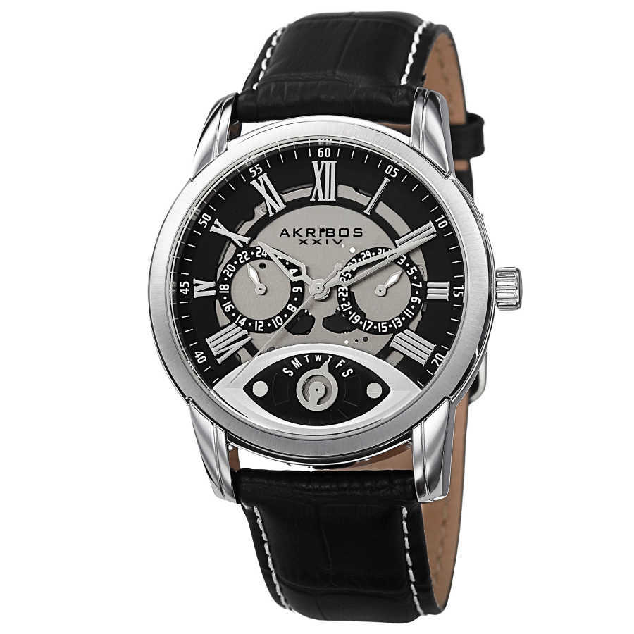 Akribos XXIV Men's Multifunction Step Dial Leather Strap Watch AK725SSB