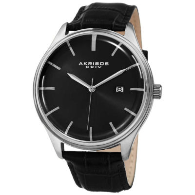 Akribos XXIV - Akribos XXIV Men's Quartz Date Black Leather Strap Watch AK914SSB