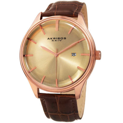 Akribos XXIV - Akribos XXIV Men's Quartz Date Brown Leather Strap Watch AK914RGBR