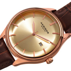 Akribos XXIV Men's Quartz Date Brown Leather Strap Watch AK914RGBR - Thumbnail