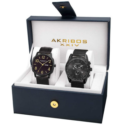 Akribos XXIV - Akribos XXIV Men's Quartz Multifunction Strap/Bracelet Watch Set AK885BK