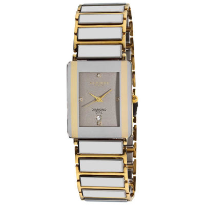 Akribos XXIV - Akribos XXIV Men's Rectangular Ceramic Quartz Silver Bracelet Watch AK521YG