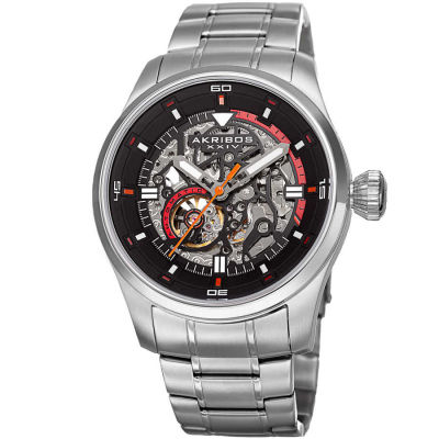 Akribos XXIV - Akribos XXIV Men's Skeleton Automatic Stainless Steel Bracelet Watch AK970SS