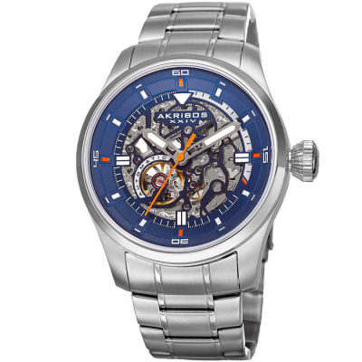 Akribos XXIV - Akribos XXIV Men's Skeleton Automatic Stainless Steel Bracelet Watch AK970SSBU